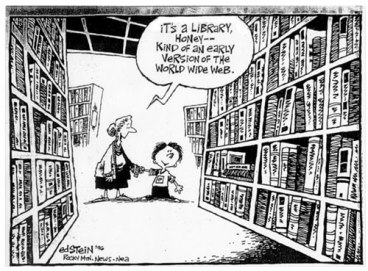 Computers should do more than just replace physical books—technology has specific functions that books do not, and these need to be taken advantage. Image Source.