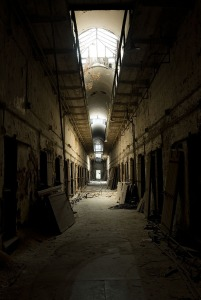 """Eastern State Penitentiary Philadelphia, now abandoned, was the first all-solitary prison in the US. Religiously inspired its goal was to force inmates into the contemplative life of monks to """"repent"""" their crimes."""