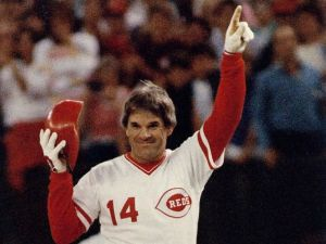 Victorious Pete Rose in his iconic pose. Rose had an illustrious career spanning from 1963 until 1986. Image Source.